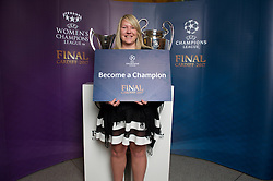 CARDIFF, WALES - Monday, December 5, 2016: Guests at the Wales Sport Awards 2016 pose with the UEFA Champions League Trophies before the ceremony at the Millennium Centre. Vicki Randall - BBC Wales Sport's Unsung Hero 2016. (Pic by Ian Cook/Propaganda)