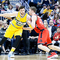 18 November 2016: Denver Nuggets center Jusuf Nurkic (23) posts up Toronto Raptors center Jakob Poeltl (42) during the Toronto Raptors 113-111 OT victory over the Denver Nuggets, at the Pepsi Center, Denver, Colorado, USA.