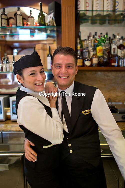 staff of Garaldi Caffe, located at Piazza garita