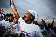 Supporters of the New Patriotic Party (NPP) cheer during a campaign rally in Ghana's capital Accra on Friday December 5, 2008. Thousands of Ghanaians gathered in final rallies as they prepared to head to the polls on Sunday December 7 to elect a new government.