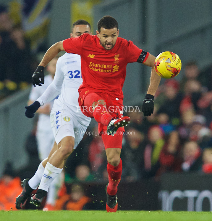 LIVERPOOL, ENGLAND - Tuesday, November 29, 2016: Liverpool's Kevin Stewart in action against Leeds United during the Football League Cup Quarter-Final match at Anfield. (Pic by David Rawcliffe/Propaganda)