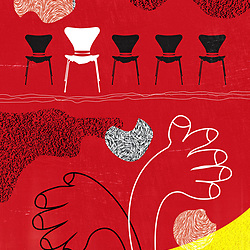 Waiting Audience Retro Mid Century Modern Illustration chairs and hands with vintage texture background on red and yellow