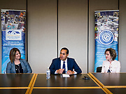 15 APRIL 2019 - DES MOINES, IOWA: JULIÁN CASTRO (center) talks to TASCHA BROWN, Director of Central Campus, (left) and GRETCHEN CRITELL, of the Skilled Trade Alliance, during Castro's visit the Central Campus Skilled Trades Alliance at the Des Moines Public School's Central Campus Monday. Castro is on his third visit to Iowa since declaring his candidacy for the Democratic ticket of the US Presidency. Casto talked to students and administrators about skilled trades education and toured the campus. Iowa traditionally hosts the the first selection event of the presidential election cycle. The Iowa Caucuses will be on Feb. 3, 2020.                PHOTO BY JACK KURTZ