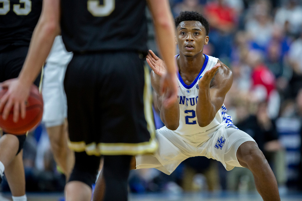 Kentucky guard Ashton Hagans (2) plays defense during the second half of the second round men's college basketball game against Wofford in the NCAA Tournament, in Jacksonville, Fla. Saturday, March 23, 2019. (AP Photo/Stephen B. Morton)