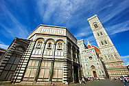 View of the Facade of the the Gothic-Renaissance Duomo of Florence,  Basilica of Saint Mary of the Flower; Firenza ( Basilica di Santa Maria del Fiore ), and its campinale & Baptistry  from Piazza del Duomo.  Built between 1293 & 1436. Italy .<br /> <br /> Visit our ITALY PHOTO COLLECTION for more   photos of Italy to download or buy as prints https://funkystock.photoshelter.com/gallery-collection/2b-Pictures-Images-of-Italy-Photos-of-Italian-Historic-Landmark-Sites/C0000qxA2zGFjd_k<br /> .<br /> <br /> Visit our MEDIEVAL PHOTO COLLECTIONS for more   photos  to download or buy as prints https://funkystock.photoshelter.com/gallery-collection/Medieval-Middle-Ages-Historic-Places-Arcaeological-Sites-Pictures-Images-of/C0000B5ZA54_WD0s