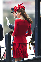 © Licensed to London News Pictures. 03/06/2012. London, UK. Catherine Duchess of Cambridge and Prince William boarding the Royal Barge Spirit of Chartwell during the Jubilee Pageant on the River Thames, London on June 03,2012 as part of The Diamond Jubilee celebrations. Great Britain is celebrating the 60th  anniversary of the countries Monarch HRH Queen Elizabeth II accession to the throne . Photo credit : Ben Cawthra/LNP