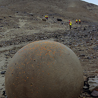 FRANZ JOSEF LAND, RUSSIA. Strangely-eroded boulders at Cape Fiume on Champa Island in this Arctic Ocean archipeligo.