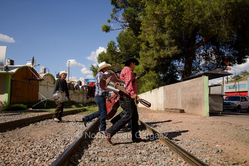 Musicians of Los Hermanos Moroyoqui head to a gig in Nogales, Sonora, Mexico.