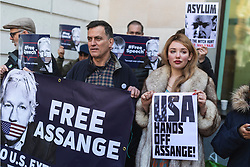 © Licensed to London News Pictures. 11/04/2019. London, UK. Supporters of Wikileaks founder Julian Assange protest outside Westminster Magistrates Court where Assange  faces an extradition warrant. Photo credit: Rob Pinney/LNP