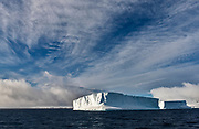 Giant table-shaped icebergs in the Antarctic Sound close to Brown Bluff, Antarctic Peninsula
