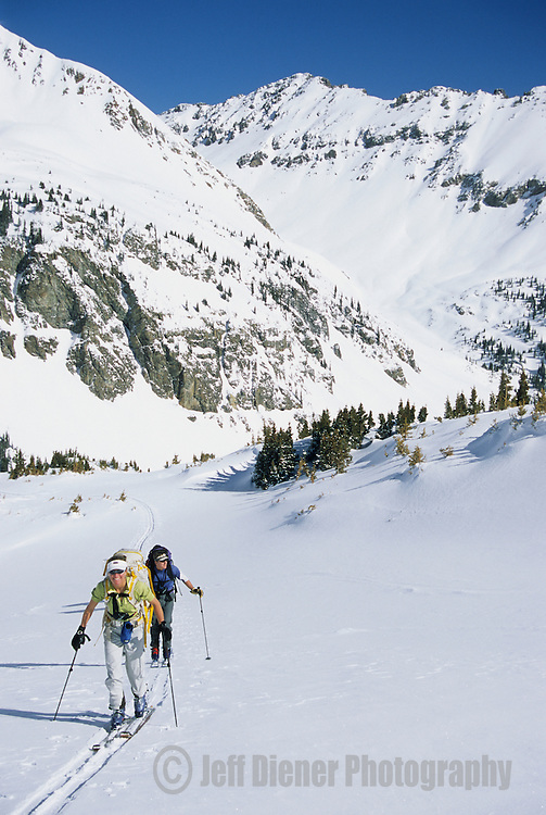 A group of backcountry skiers tour in the Elk Mountains of Colorado.