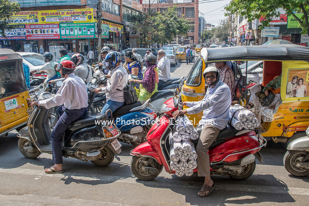 Constipated traffic in the city centre. Photographed in Ahmedabad, Gujarat, India