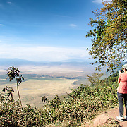 A lookout overlooking the Ngorongoro Crater in the Ngorongoro Conservation Area, part of Tanzania's northern circuit of national parks and nature preserves.