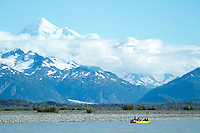 "Mount Fairweather in full view while on a  raft trip down the Tashenshini River. The ""Tat"" flows out of Yukon, CA, through British Columbia and empties into Glacier Bay National Park in Alaska, US."