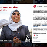 Mercy Corps Instagram post for International Women's Day, March 2018