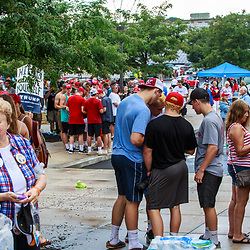 Mechanicsburg, PA – August 1, 2016: Supporters waiting to enter a school building to see Republican presidential candidate Donald J Trump.