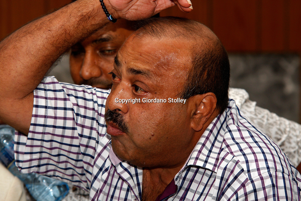 DURBAN - 14 February 2014 - Controversial Durban businessman Jay Singh speaks to one of the members of the three man commission of inquiry set up by the Department of Labour into the events that led to the collapse of the Tongaat Mall that his company Gralio Precast (Ltd) was building. Two people were killed 29 injuredwhen the mall collapsed on November 19, 2013. Picture: Allied Picture Press/APP