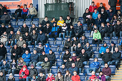 Fans in the South stand during the first half.<br /> Falkirk 1 v 0 Queen of the South, Scottish Championship game today at the Falkirk Stadium.<br /> © Michael Schofield.