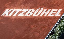 01.08.2019, Sportpark, Kitzbühel, AUT, ATP Tour, Generali Open Kitzbühel, Viertelfinale, im Bild Feature, weißer Kitzbühel Schriftzug im Tennissand // Feature white Kitzbühel lettering in the tennis sand during the quarterfinals of Generali Open Tennis Tournament of the ATP Tour at the Sportpark in Kitzbühel, Austria on 2019/08/01. EXPA Pictures © 2019, PhotoCredit: EXPA/ Stefanie Oberhauser