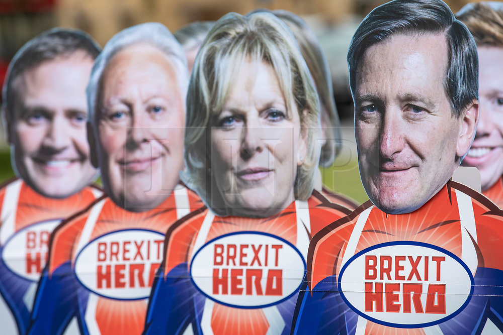 © Licensed to London News Pictures. 20/06/2018. London, UK. Campaigners from Avaaz arrange 'Brexit Hero' superhero models of the Tory 'rebel' MPs as Parliament prepares to vote on the EU Withdrawal Bill. Photo credit: Rob Pinney/LNP