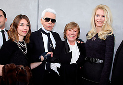 Sofia Coppola, Karl Lagerfeld, Marianne Faithfull and Claudia Schiffer attend the Chanel Haute-Couture Spring-Summer 2008 fashion show held at the Grand Palais, in Paris, France, on January 22, 2008. Photo by Nebinger-Taamallah/ABACAPRESS.COM