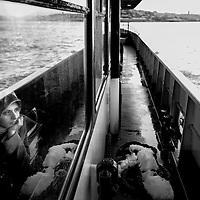 Istanbul, Turkey 18 February 2008<br /> View of a Turkish woman inside a ferry crossing the Bosphorus strait.<br /> Photo: Ezequiel Scagnetti