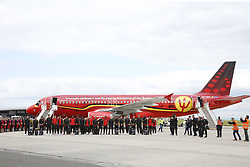 June 13, 2018 - Zaventem, BELGIUM - Players stand to the press before getting inside the special plane of Brussels Airlines called 'the Trident' with Belgian flag colours and pictures of players at the departure of the Belgian national soccer team Red Devils, Wednesday 13 June 2018, in Zaventem airport. The Red Devils flight to Moscow today for the FIFA World Cup 2018...BELGA PHOTO THIERRY ROGE (Credit Image: © Thierry Roge/Belga via ZUMA Press)