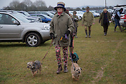 JULIANA GROSE; ( MILLIE AND BINKER ) BEHIND: ANNABEL WOOLEY ( EARTHA ) , Heythrop Point to Point. At a  new course at Cocklebarrow near Aldsworth. 11 January 2014