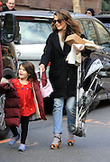 Jan. 7, 2016 - New York City, NY, USA - <br /> <br /> Actress Keri Russell, who has just announced that she is pregnant, picks up her daughter Willa Lou Deary from school in Brooklyn She may be expecting, but Keri Russell still has things to do and places to go.<br /> The Americans actress, 39, stepped out in New York on Thursday and kept her burgeoning baby bump under wraps.<br /> She sported some rather practical but unusual footwear - a pair of sandals and socks, which no doubt kept the cold away from her toes. <br /> ©Exclusivepix Media