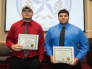 Milbey's Dario Jimenez (Colorado Mesa) and Rodolfo Barajas (Texas College) pose for a photograph during a National Signing Day ceremony at the Region 4 Education Center, February 5, 2014.