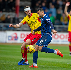 Partick Thistle's Sean McGinty and Dundee's Kane Hemmings. half time : Dundee 1 v 0 Partick Thistle, Scottish Championship game player 19/10/2019 at Dundee stadium Dens Park.