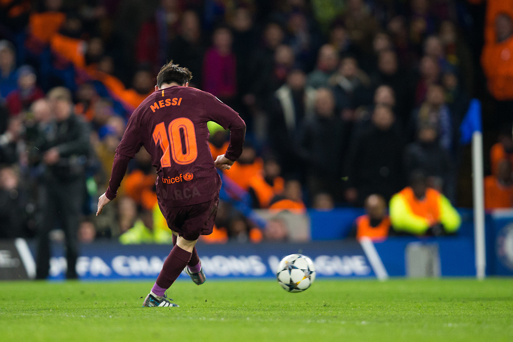 Barcelona's Lionel Messi scores his side's equalising goal to make the score 1-1 <br /> <br /> Photographer Craig Mercer/CameraSport<br /> <br /> UEFA Champions League Round of 16 1st Leg - Chelsea v Barcelona - Tuesday 20th February 2018 - Stamford Bridge - London<br />  <br /> World Copyright © 2017 CameraSport. All rights reserved. 43 Linden Ave. Countesthorpe. Leicester. England. LE8 5PG - Tel: +44 (0) 116 277 4147 - admin@camerasport.com - www.camerasport.com