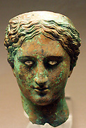 Bronze head of a woman or a goddess 150-100 BC From Mersin, Cilicia. She wears a diadem with silver decoration, and the eyes retain their silver inlay.