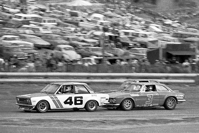 Horst Kwech, Alfa no. 3, rams the Datsun of John Morton during their furious battle in the 1971 U2 Trans-Am at Laguna Seca.