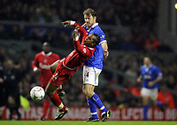 Fotball<br /> Premier League 30.11.2003<br /> Liverpool v Birmingham<br /> Florent Sinama-Pongolle - Liverpool<br /> Kenny Cunningham - Birmingham<br /> Foto: Morten Olsen, Digitalsport