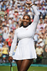 © Licensed to London News Pictures. 12/07/2018. London, UK. Serena William's of the United States of America plays Julia Goerges of Germany in the women's semi-finals round singles draw of the Wimbledon Tennis Championships 2018, at the All England Lawn Tennis and Croquet Club. Photo credit: Ray Tang/LNP