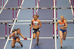 March 2, 2018 - Birmingham, United Kingdom - Elisavet Pesiridou (Greece) hits her hurdle and falls hard during the IAAF World Indoor Championships. (Credit Image: © Hurdles.jpg/SOPA Images via ZUMA Wire)