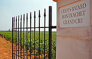 An iron gate and gate post to the Grand Cru Vineyard Criots Batard Montrachet belonging to Roger Belland, Santenay, Bourgogne
