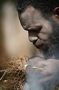 Kusumba Tribe Demonstration of traditional fire lighting, Kogie, Rondon Ridge, Mount Hagen, Western Highlands Province, Papua New Guinea