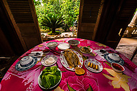 Lunch of fish and fresh vegetables, near Cai Lay, Mekong Delta, Vietnam.