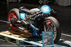 Custom BMW R900 drag bike with nitrous in the Sultans of Sprint display at the Intermot International Motorcycle Fair. Cologne, Germany. Saturday October 6, 2018. Photography ©2018 Michael Lichter.