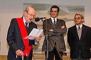 """Movie director Manoel de Oliveira (left) in the ceremony where he receives de distinction of """"Grand Officier de la Légion d'Honneur"""" by the French Ambassador in Portugal, Jean-François Blarel (not in photo) : State Secretary of Culture Jorge Barreiro Xavier (right) and Oporto's mayor Rui Moreira (center)"""