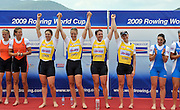 Banyoles, SPAIN, GBR W4X, Katie GREVES, Beth RODFORD, Anna BEBINGTON and Annie VERNON, Gold Medalist Women's Quadruple Sculls.   FISA World Cup Rd 1. Lake Banyoles.  Sunday,  31/05/2009   [Mandatory Credit. Peter Spurrier/Intersport Images]