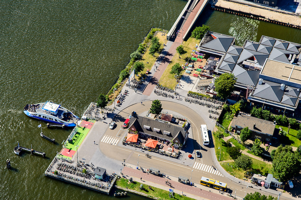 Nederland, Noord-Holland, Amsterdam-Noord, 01-08-2016; IJ-oevers, Buiksloterweg en Overhoeks . Voormalige bedrijfskantine Shell en Tolhuistuin.<br /> Banks of IJ and Overhoeks near A'DAM Tower (former Shell Tower) and Eye Film Museum.<br /> luchtfoto (toeslag op standard tarieven);<br /> aerial photo (additional fee required);<br /> copyright foto/photo Siebe Swart