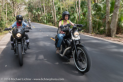 The Iron Lillies' Leticia Cline (L) and Deneille Basualdo riding through Tomoka State Park during Daytona Bike Week 75th Anniversary event. FL, USA. Thursday March 3, 2016.  Photography ©2016 Michael Lichter.