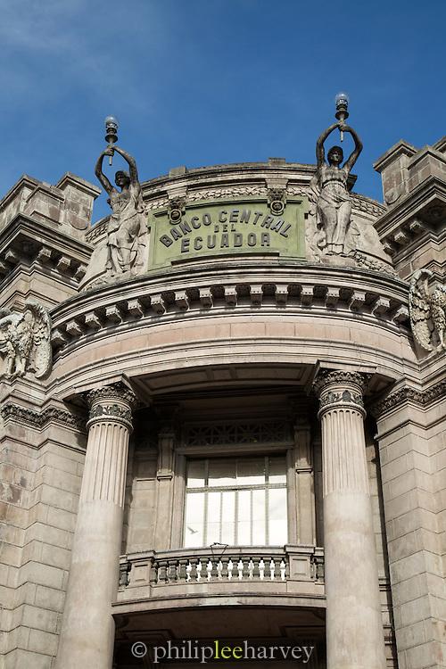 Ornate architecture of the former Banco Central de Ecuador, in Quito, Ecuador, South America