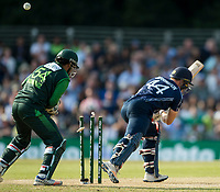 EDINBURGH, SCOTLAND - JUNE 12: Richie Berrington goes for 3, clean bowled by Shadab Khan in the first of 2 Twenty20 Internationals at the Grange Cricket Club on June 12, 2018 in Edinburgh, Scotland. (Photo by MB Media/Getty Images)
