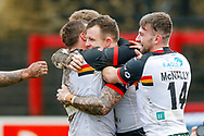 Bradford Bulls interchange George Flanagan (21) scores a try to make the score 0-14 during the Betfred League 1 match between Keighley Cougars and Bradford Bulls at Cougar Park, Keighley, United Kingdom on 11 March 2018. Picture by Simon Davies.