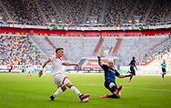 Zweikampf , Erik Thommy , gegen , Dennis Jastrzembski , leere Tribüne , Geisterspiel during the Fortuna Dusseldorf vs Paderborn Bundesliga match at Esprit Arena, Dusseldorf, Germany on 16 May 2020.
