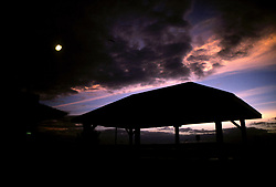 D. Ross Cameron 8/89<br /> <br /> A gazebo at the foot of Wilmington Avenue in Rehoboth Beach, Del. is silhouetted against the dramatic clouds at sunrise.